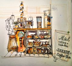 Coffeehouse Sketch, Cafe Miel, opposite Casa Amarilla (Ministry of Foreign Affairs), San Jose, Costa Rica, working from a focus   출처: crclapiz