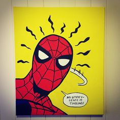 For sale - hand painted Spider-Man canvas 🕷 Msg me for deta Simple Canvas Paintings, Small Canvas Art, Easy Canvas Painting, Mini Canvas Art, Canvas Size, Spongebob Painting, Cartoon Painting, Marvel Paintings, Posca Art