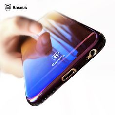 Baseus độc đáo trường hợp đối với iphone 6 sang trọng aurora màu gradient trường hợp trong suốt cho iphone 6 s plus ánh sáng bìa cứng pc trường hợp