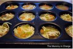 How to freeze soups by pouring into muffin tin and freezing.  Take out one-three, microwave, and enjoy!