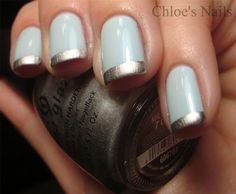 powder #blue and #silver #french #mani