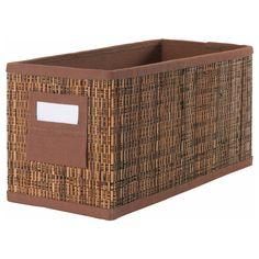 "MOTORP Box - 5 ½x11 ¾x6 "" - IKEA, $6 each.about 8~ on the shelf."
