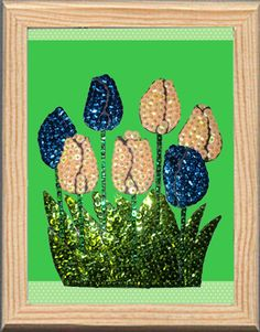 Tulips made with Color Dome pins and sequins. Tulipanes hechos con alfileres Color Dome y lentejuelas Do It yourself. pinsart.com Art En 2d, Pin Art, Sequins, Flowers, Plants, Diy, Color, Tulips, Hand Embroidery