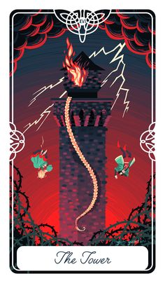 """Poster+size++12""""+x++16""""  The+Tower+for+The+Fairytale+Tarot+deck.+ This+is+the+story+of+Rapunzel.+Here,+expectations+crumble,+and+hardship+ensues+"""