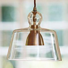 Antiqued Brass Kitchen Pendant Light   Lovell Glass Shade Pendant