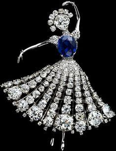 Blue diamond and diamond dancer brooch
