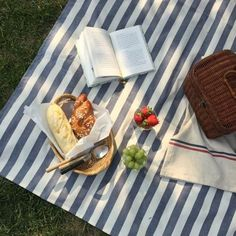 striped canvas picnic blanket set for picnic Picnic Date, Summer Picnic, Summer Aesthetic, Aesthetic Food, Cozy Aesthetic, Blue Aesthetic, Comida Picnic, Jai Faim, Cute Food