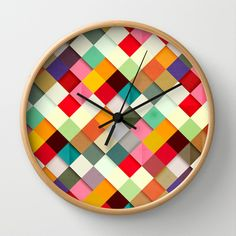 Clock, multi, colour, purchase Pass this On Wall Clock $30 society6. Design also available in other items.