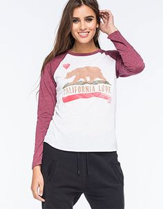 BILLABONG Cali Love Womens Raglan Tee Burgundy