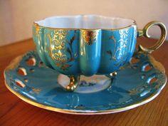 Vintage Royal Halsey Cup & Saucer in aqua / blue / turquoise Do pretty Tea Cup Set, My Cup Of Tea, Tea Cup Saucer, Tea Sets, China Tea Cups, Teapots And Cups, Tea Service, Tea Time, Vases