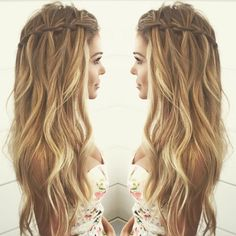 Waterfall Braid long curly hair | Shared by Fireman's Finds Store