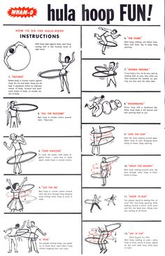 mens fitness - 1963 instructions on How to do the Hula Hoop by WhamO hulahoop instructions hooping Fitness Workouts, Hula Hoop Workout, Spinning Workout, Roller Derby, Weighted Hula Hoops, Back Flexibility Stretches, Volleyball Workouts, Flow Arts, Fit Girl