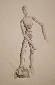 wooden mannequin, pencil
