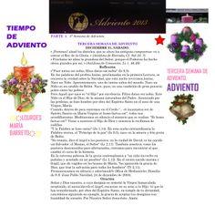 TIEMPO DE ADVIENTO. ORACION TERCERA SEMANA DE ADVIENTO. SABADO 21 DE DICIEMBRE DEL 2013.  *♥ ♥LOURDES MARIA BARRETO♥ ♥*