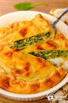 Рецепт Пирог из слоеного теста с лососем и шпинатом