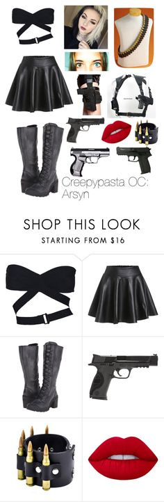 """""""Creepypasta OC: Arsyn"""" by bestqueerbean ❤ liked on Polyvore featuring Alaïa, Smith & Wesson and Lime Crime"""