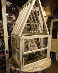 Picture frames, garden accents and so much more! ideas on what to do with old windows is included in this fabulous post on Funky Junk Interiors! Old Window Greenhouse, Mini Greenhouse, Old Window Projects, Decor Crafts, Diy Crafts, Funky Junk Interiors, Old Windows, Garden Projects, Wood Projects