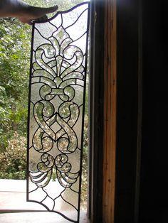 Clear textured and beveled glass door panels Leaded Glass, Beveled Glass, Mosaic Glass, Glass Panel Door, Door Panels, Glass Panels, Stained Glass Crafts, Crystal Design, Steel Doors