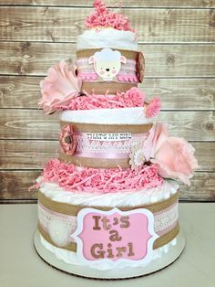 Diaper Cake. pink and gold diaper cake