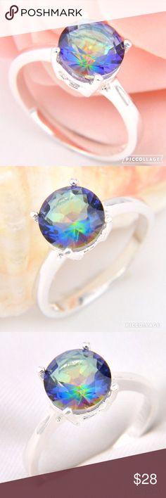 NWT Rainbow Mystic Topaz Ring Brilliant 925 Silver 9mm rainbow mystic topaz ring in size 7 in solitaire setting. Summer Paradise Jewelry Rings