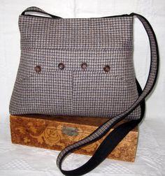 Brown Wool Tweed Crossbody Purse