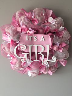 It's A Girl Wreath by ShuShoDesigns on Etsy