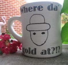 COFFEE CUP Mobile Alabama Leprechaun  Where da' gold at  Can be personalized. $10.00, via Etsy.  I need to buy this for jon.