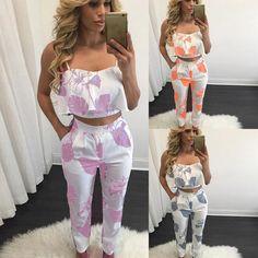 Women Floral Woven GallOff Shoulder Tops Pants Set 2PCS 3 Colors