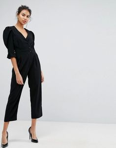 c95c189662 ASOS Tea Jumpsuit with Button Sleeve and Peg Leg - Black Long Jumpsuits