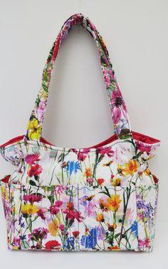 Multi Floral Shoulder Bag, Travel Handbag, Diaper Bag, Flower Fabric Shoulder Bag, Handmade Fabric Purse, Quilted Handbag, Sling Baby Bag by JustBeautiful161 on Etsy