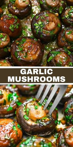 Tasty Vegetarian Recipes, Vegetable Recipes, Healthy Recipes, Mushroom Recipes, Mushroom Side Dishes, Low Carb Recipes, Keto Recipes, Garlic Mushrooms, Stuffed Mushrooms
