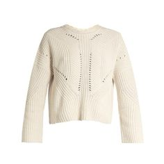 Isabel Marant Grifin lace-up back cotton-blend sweater ($800) ❤ liked on Polyvore featuring tops, sweaters, beige, lace up front top, loose fitting tops, lace front sweater, white lace up top and isabel marant top