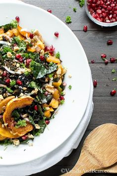 Kale and Wild Rice Salad with Maple Roasted Squash from Vanilla And Bean via coq… - Bulgur Salad Healthy Salad Recipes, Clean Recipes, Vegetarian Recipes, Vegan Soups, Healthy Lunches, Fun Recipes, Rice Recipes, Healthy Food, Dinner Recipes