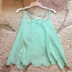 Mint Scalloped Tank Super cute only worn once. Slightly cropped. Cute with jeans or high waisted shorts Tops Tank Tops