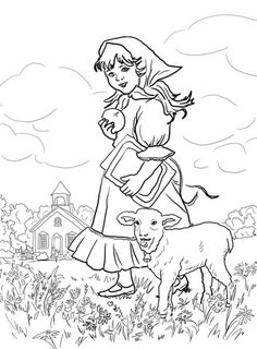 mary had a little lamb its fleece was white as snow coloring page from mother goose