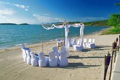 Married in the round on the beach, small intimate ceremony with Chuppah or canopy