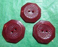 "3 - 7/8"" DECORATIVE BURGUNDY RED CASEIN? PLASTIC 2-HOLE BUTTONS- VINTAGE Lot#D13"