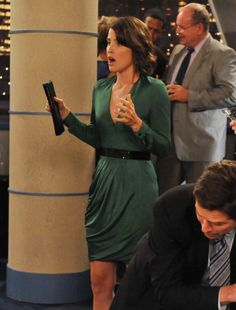 Robin's green longsleeve dress on How I met your mother.  Outfit Details: http://wornontv.net/520/ #HowIMetYourMother #CBS