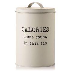 CALORIES DONT COUNT Kitchen Biscuit Barrel Sweet Treats Storage Jar Vintage Tin