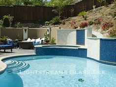 Gallery #43 | lightstreams Glass Pool Tile, Tile Steps, Rectangle Pool, Pool Steps, Pool Remodel, Blue Pool, Tile Projects, Swimming Pools Backyard, Beautiful Pools