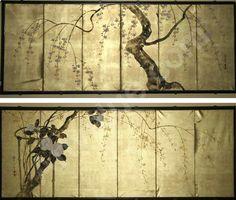 Hoitsu Sakai, pair of 6 Panel Japanese folding screens with flowering trees