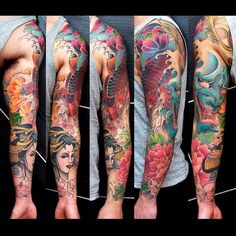 koi fish tattoo, hannya tattoo, geisha tattoo by Meng Xiangwei @greattangtattoo http://facebook.com/greattangtattoo