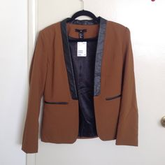 Camel and faux leather blazer NWT Never worn H&M Jackets & Coats Blazers