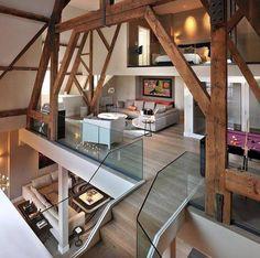 #loftstyle #loft #openspace #stairs #glass #wood