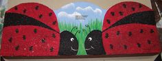 Scalloped Cement Garden Edger Ladybug Design by ThePaintedPearDeb, $5.00