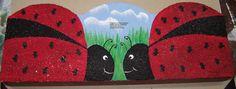 Scalloped Cement Garden Edger Ladybug Design by ThePaintedPearDeb, $5.00