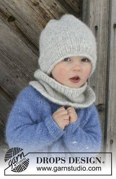 Drops Pattern 30-4, Set of knitted hat and neck warmer for children, sizes 2-12 years, in Drops Air