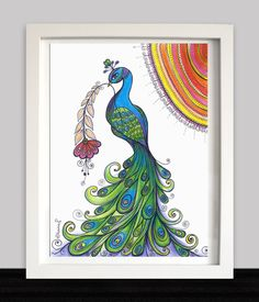 Peacock ORIGINAL Drawing - Nursery Wall Decor, Modern Contemporary illustration, Colored pencils and Black ink https://www.etsy.com/listing/206739793/peacock-original-drawing-nursery-wall