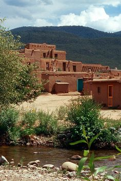 Taos Pueblo, New Mexico  - Oldest Continuously Occupied Dwellings in US,  built between 1000-1450 AD New Mexico Style, Taos New Mexico, New Mexico Homes, Travel New Mexico, Taos Pueblo, Four Corners, New Mexican, Land Of Enchantment, Adobe House