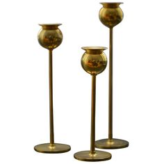 Pierre Forsell 3 Brass Tulip Candlesticks  SOLD TO PARIS